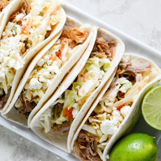 Pulled Pork Tacos with Sweet Chili Slaw.