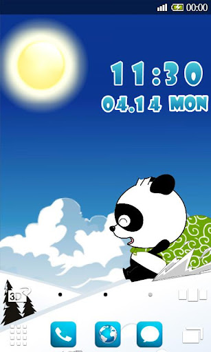 熊猫滑雪 动态壁纸