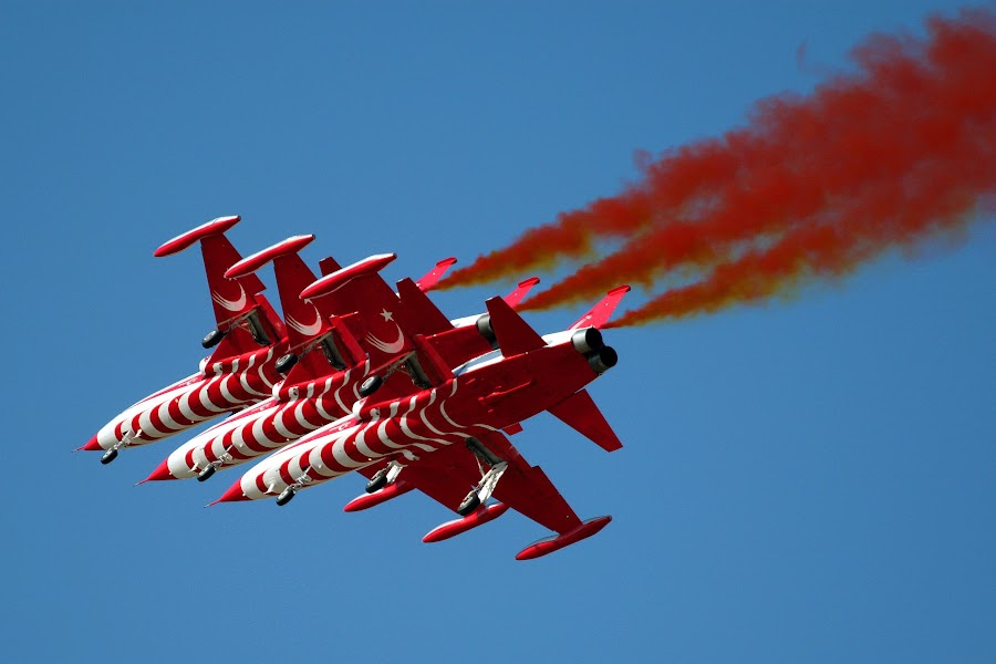 F-5 Turkish Stars by Andy Cíger - Transportation Airplanes