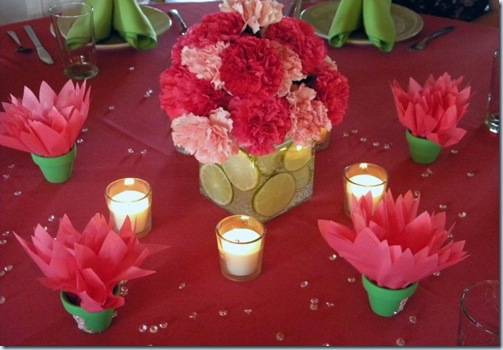 table centerpieces and dahlia seed pots