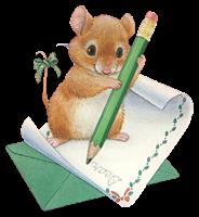Dibujo png caricatura ratón escribe carta