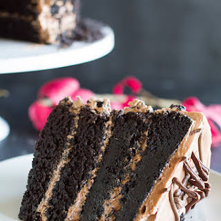 Dark Chocolate Cake with Nutella Buttercream.
