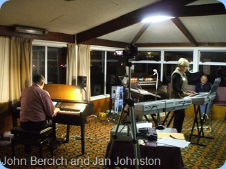 John Bercich in duet with new member and pupil of John's, Jan Johnston, whilst husband Kevin looks on.