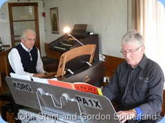 "John Stent (on the Clavinova) accompanied Gordon Sutherland playing ""Feelings"" - very nice John. Photo courtesy of Michael Bramley"