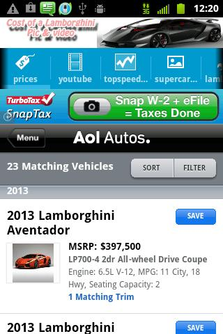 Cost of Lamborghini