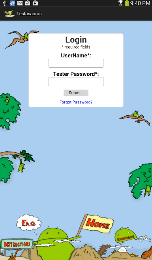 Testasaurus- screenshot