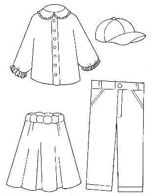 Dibujos De Vestidos Y Accesorios De Ropa Para Colorear