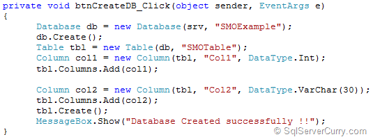 SMO Create Database