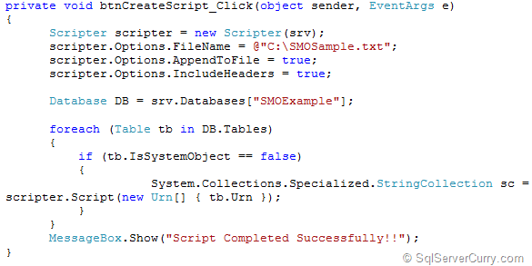 SQL Server SMO Generate Tables