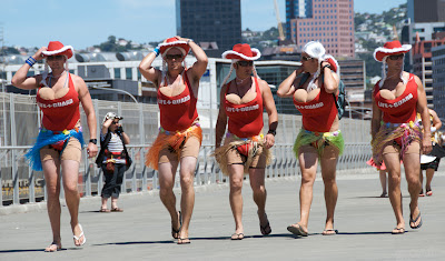 men dressed as women wellington sevens rugby tournament in funny costumes