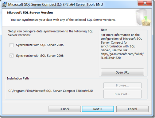 Everything SQL Server Compact: Walkthrough: Configuring the