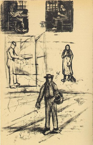Woman near a Window (twice), Man with Winnow, Sower, and Woman with Broom