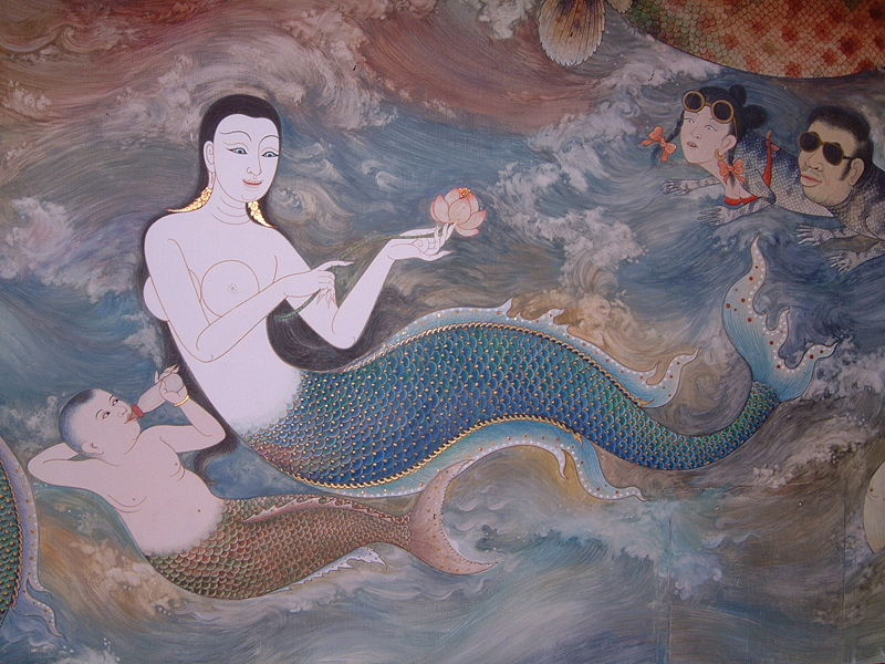 unknown thai mural artist, detail with mermaid and son, of mural at wat tri thotsathep