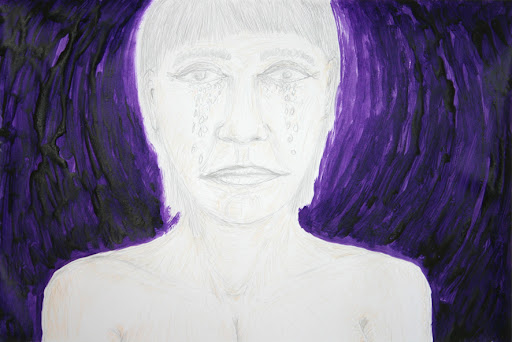 self-portrait as you crying over me, drawing, own work