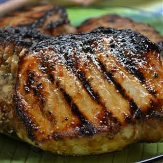 Grilled Jamaican Jerked Pork Loin Chops.