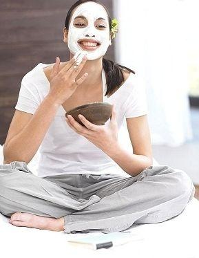 woman sitting with face mask