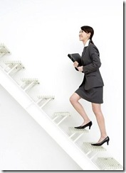 woman climbing stairs gracefully