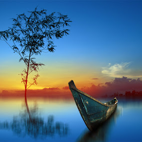 blue by Indra Prihantoro - Transportation Boats ( blue, boats, places )
