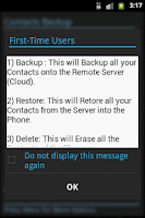 Screenshot of Contacts Backup