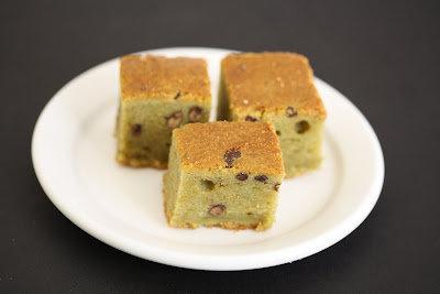 photo of slices of Green Tea Mochi Cake with Red Beans
