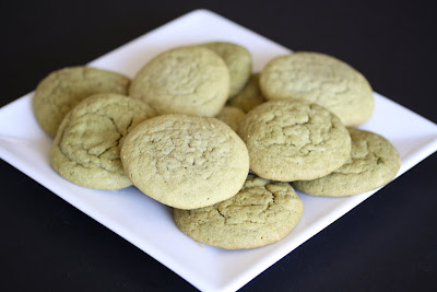 photo of a plate of Soft and Chewy green tea cookies