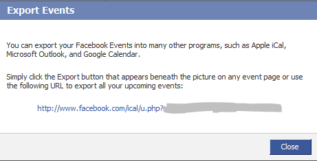 Facebook iCAL export