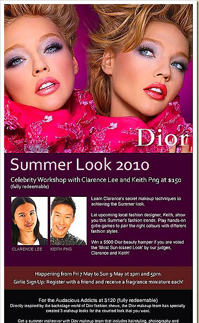 Beauterunway Singapore Luxury Travel Lifestyle Fashion Blog Beauty Shopping Gourmet Dior Summer Collection 2010 Celebrity Workshop With Clarence Lee Keith Png