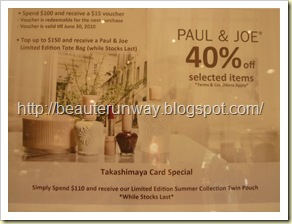 Paul & Joe Promotion at Takashimaya