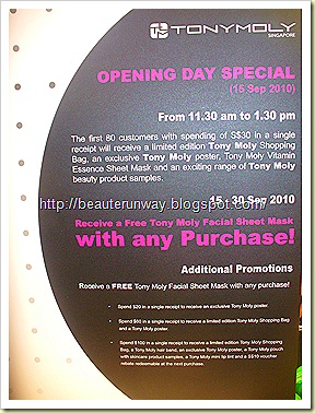 Tony Moly Singapore Opening Promotion
