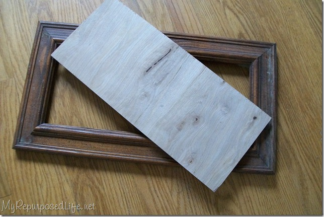 add a back to a thrift store frame to make a sign