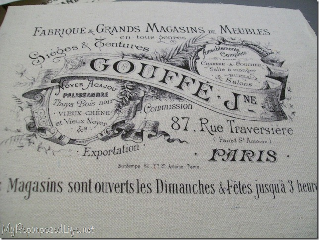 french graphic on fabric printed on home printer