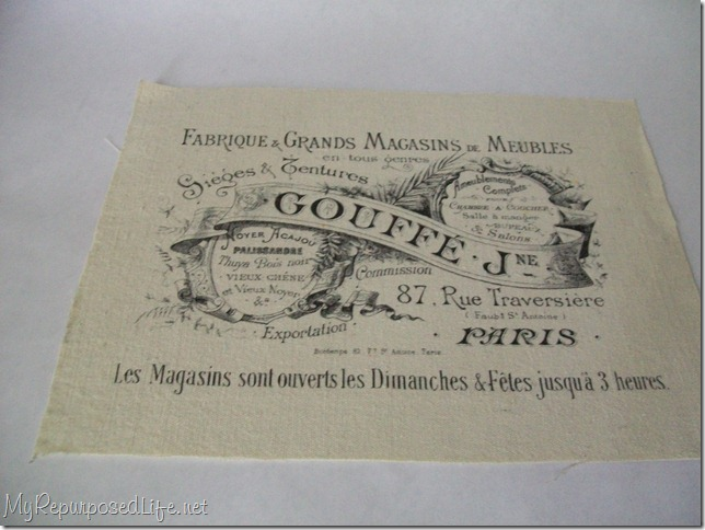 french graphic image on fabric using label sheets