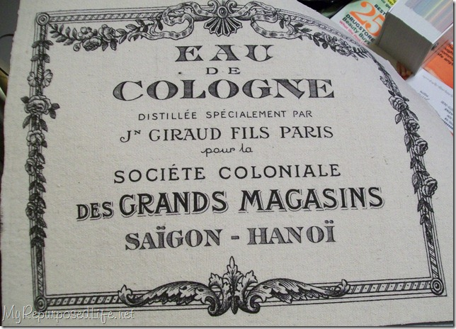 french graphic on fabric using home printer and label sheets