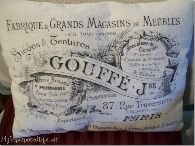how to print on fabric with a french graphic and make a small pillow