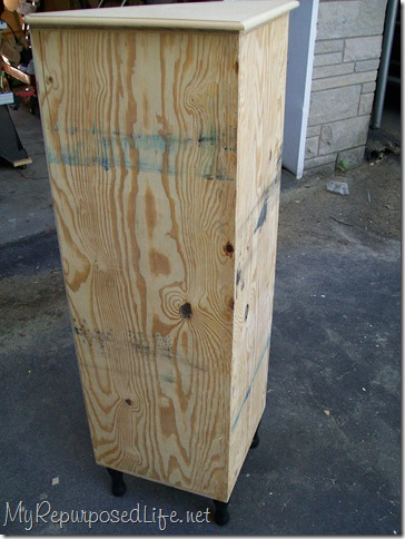 back view of diy plywood corner cabinet