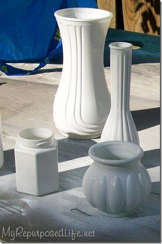 spray paint vase white