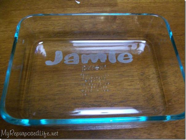 customize etching on baking dish