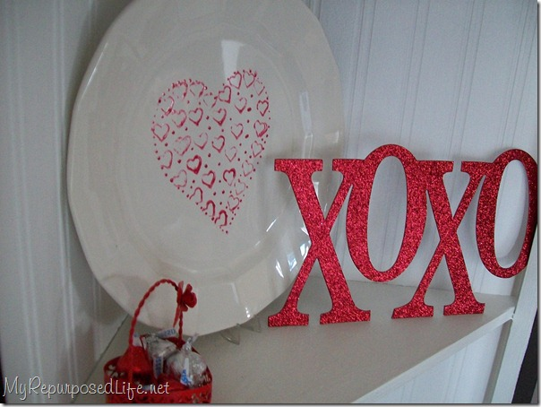 painted glass plate for valentine's day