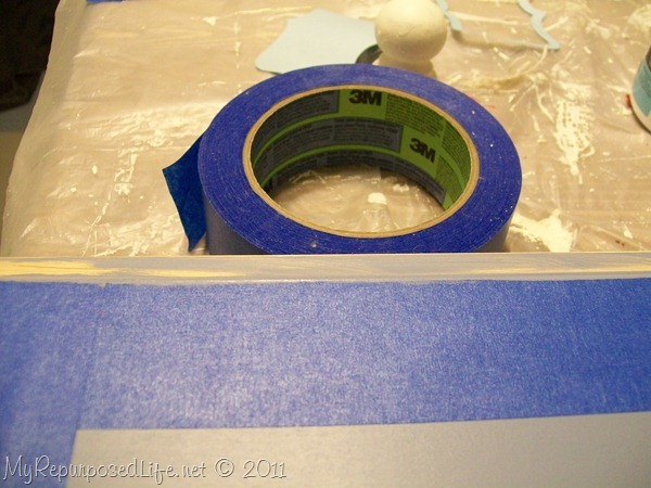 painter's tape for border of easy sign