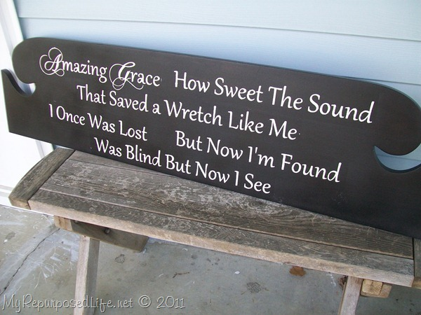 Headboard Repurposed Into An Amazing Grace Sign My