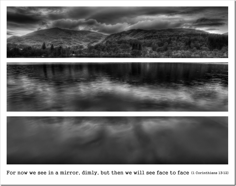 coniston water triptych for now we see in a mirror dimly, but then we will see face to face 1 Corinthians 13 v12