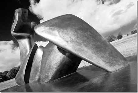 Henry Moore 2 piece reclining figure cut wide angle