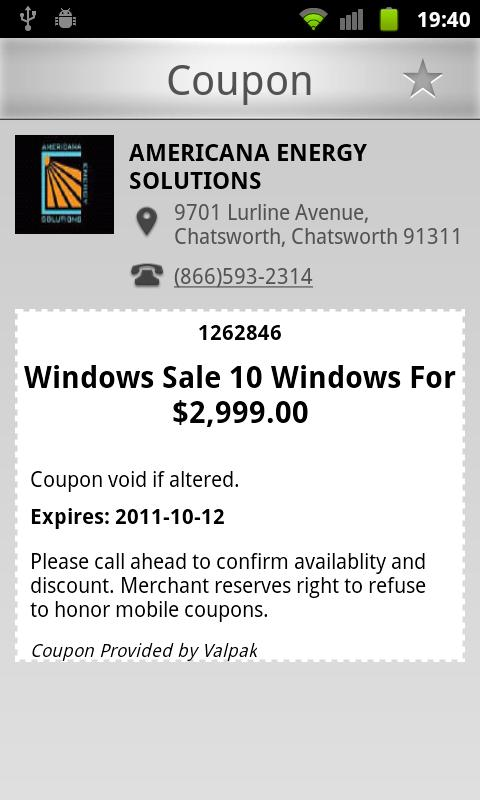 Coupons - screenshot