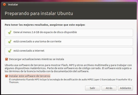 ubuntu choose install options