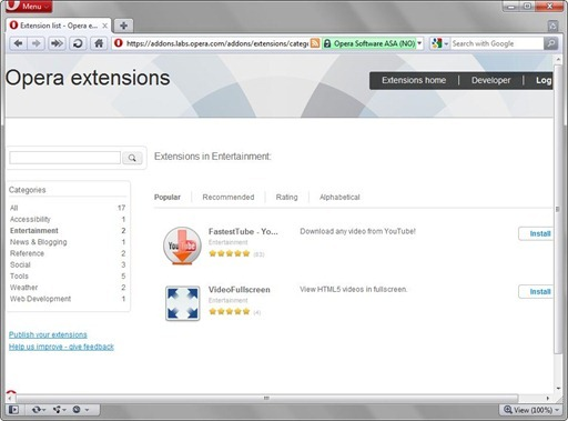 opera 11 extensiones categories