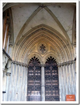 The main doors of Ely cathedral.