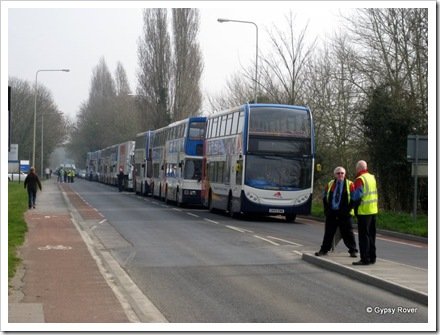Double Decker buses lined up after the accident.