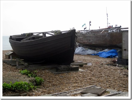 Old clinker built fishing boats at Deal.
