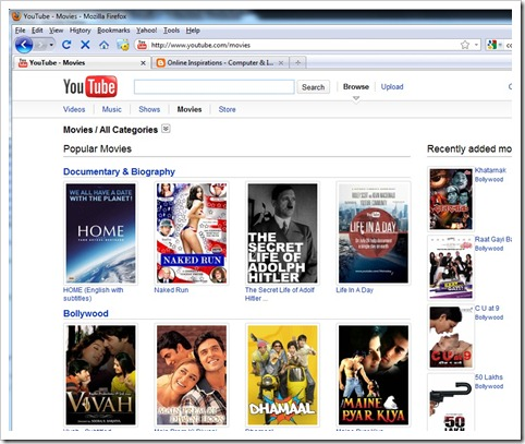 Watch free and pay per view movies in YouTube   Online