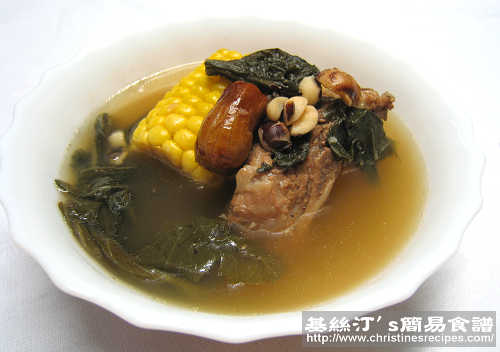 菜乾粟米煲豬骨湯 Dried Bok Choi and Corn Soup